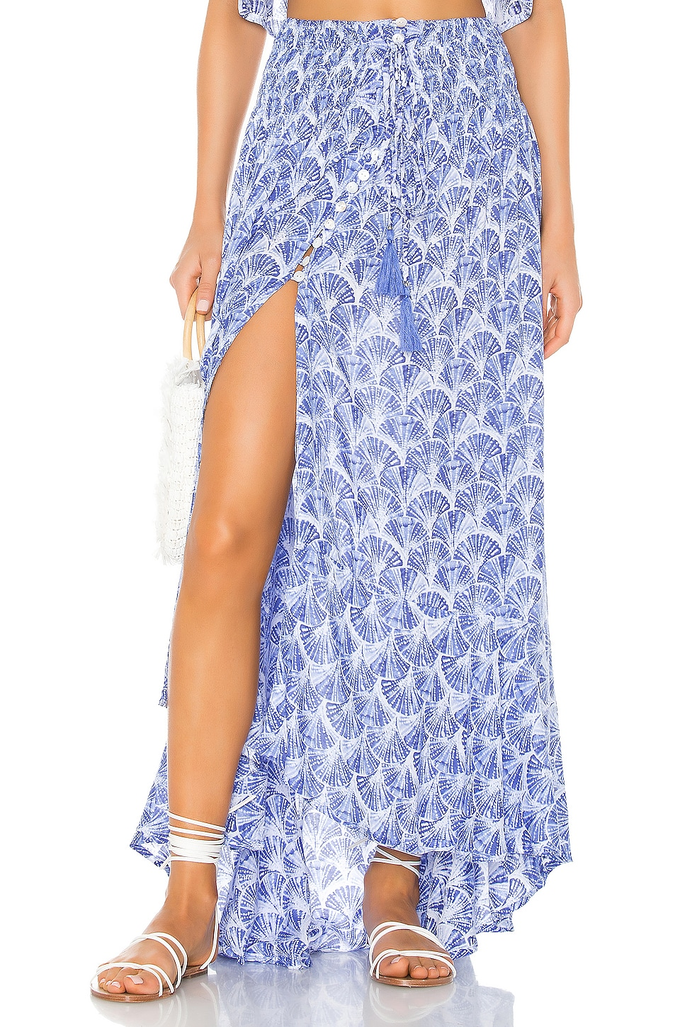 Tiare Hawaii Dakota Skirt in Fan Shells Blue