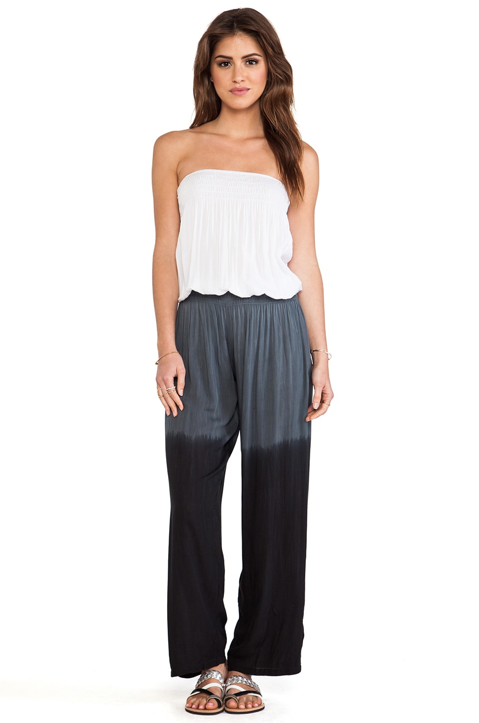 Tiare Hawaii Jaws Pantsuit in White & Grey & Black