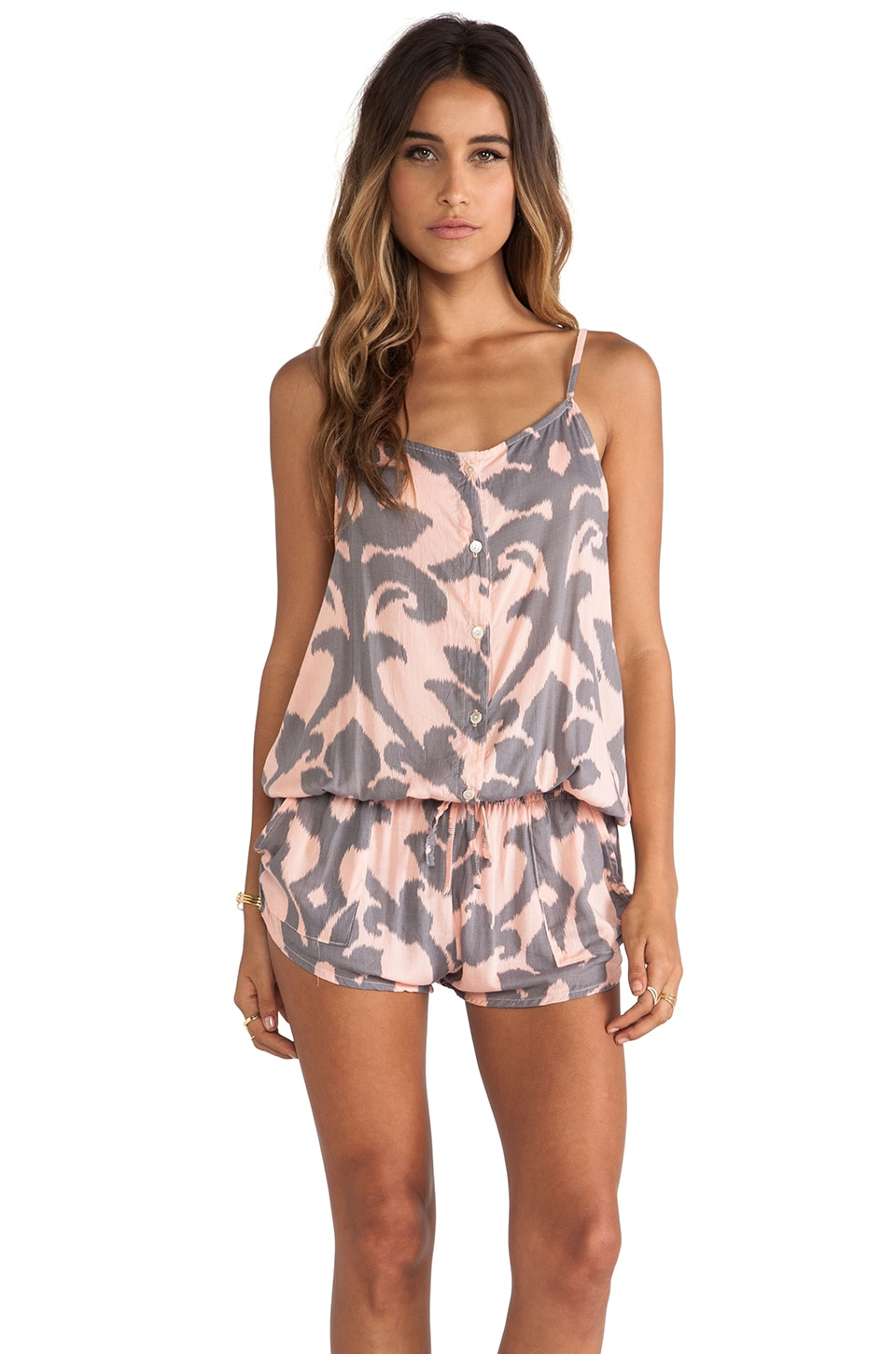 Tiare Hawaii Runaway Romper in Pink Grey Native