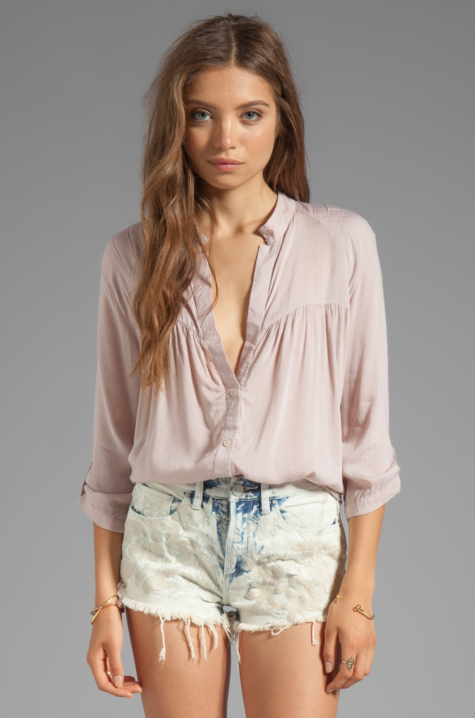 Tiare Hawaii Santorini Eyelet Top in Tan