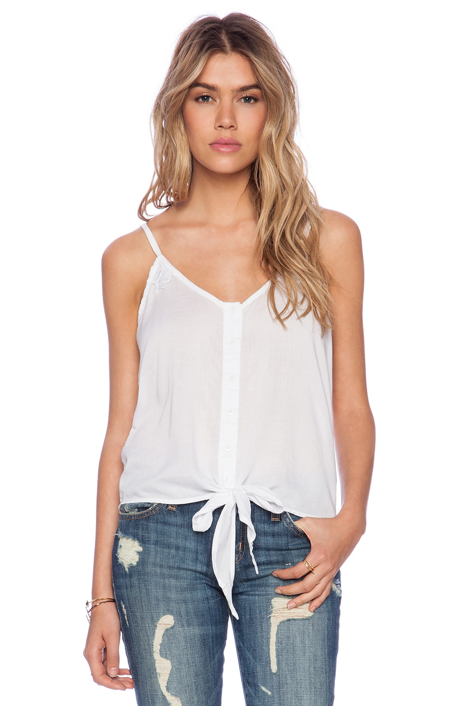 Tiare Hawaii Alyson Lace Panel Tank Top in White