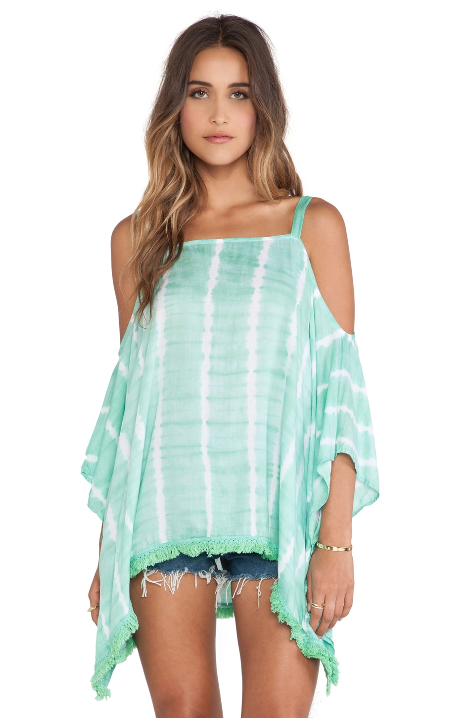 Tiare Hawaii Tunic in Teal & White Vert