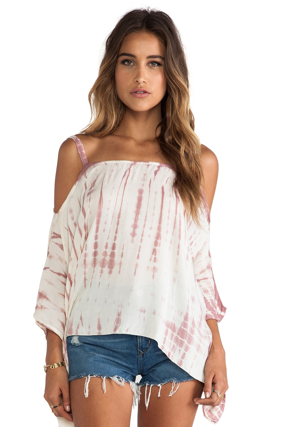 Tiare Hawaii Micah Cold Shoulder Top in Cream Skin Sabia