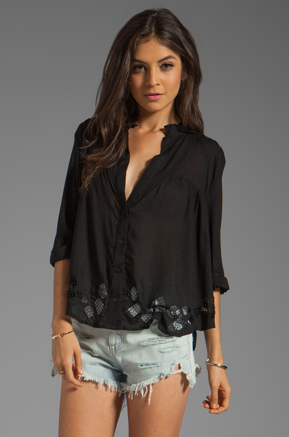 Tiare Hawaii Santorini Eyelet Top in Black