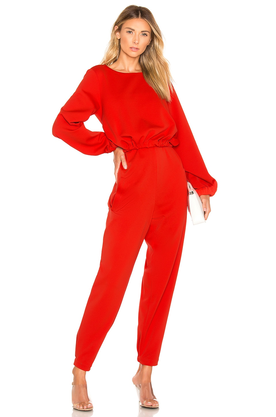 Tibi Ruched Front Tie Jumpsuit in Tomato Red