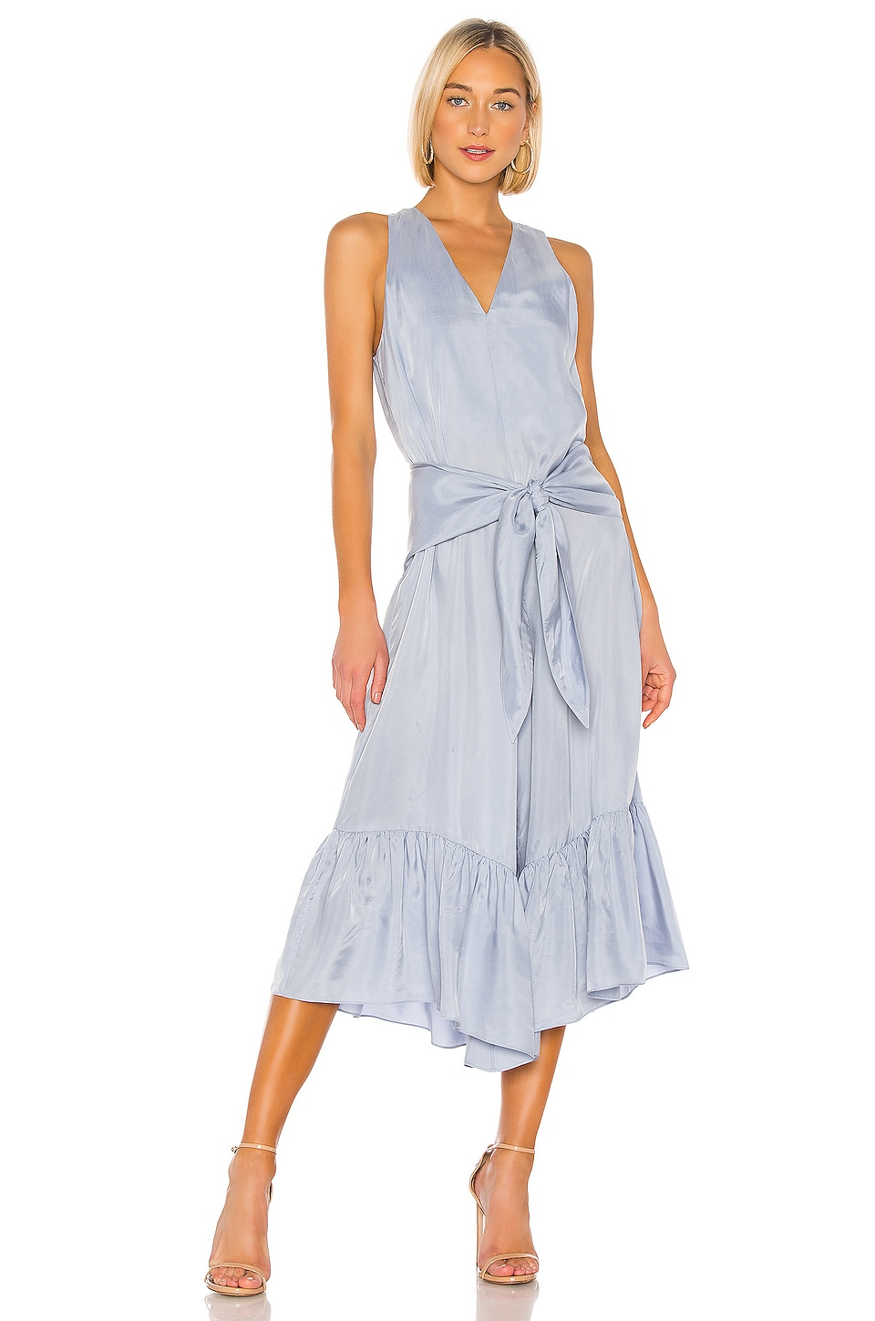 Tibi Cami Ruffle Jumpsuit in Blue Grey