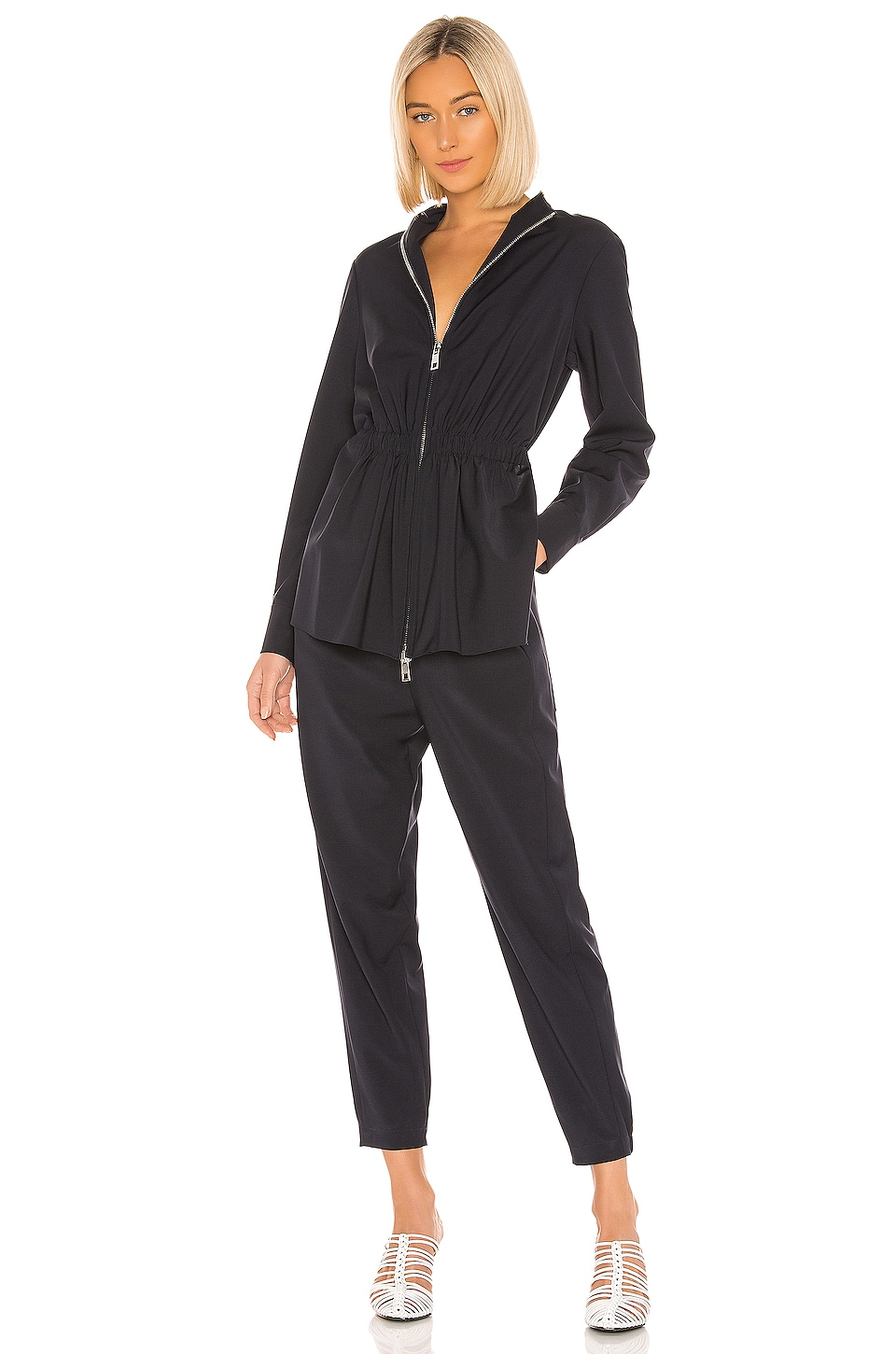 Tibi Double Layer Plainweave Jumpsuit in Dark Navy