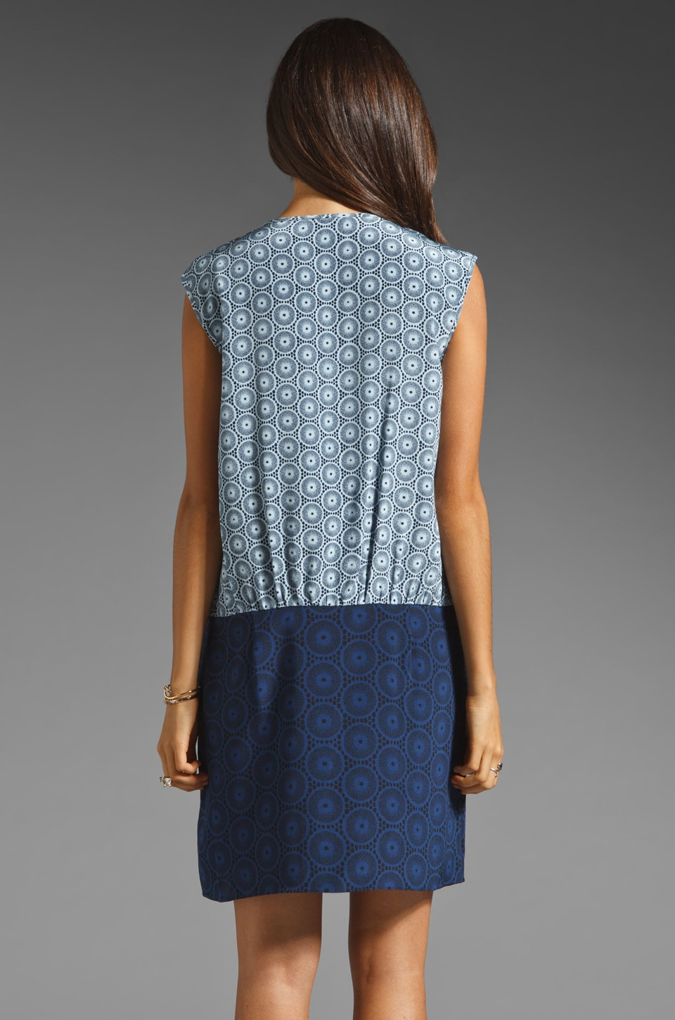 Tibi Kaleidoscope V-Neck Dress in Powder Blue/Navy Combo