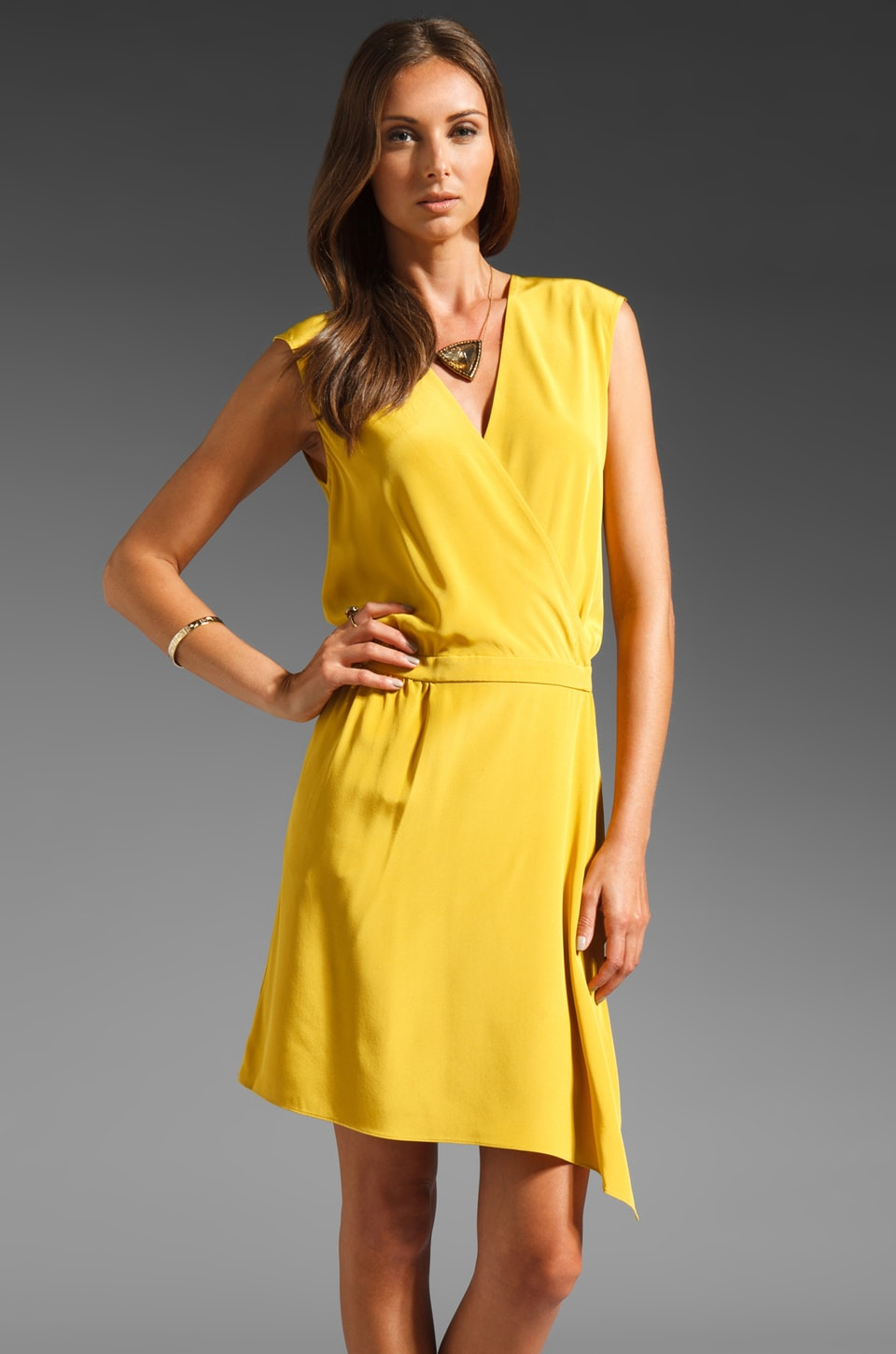 Tibi Solid Silk Wrap Dress in Mustard