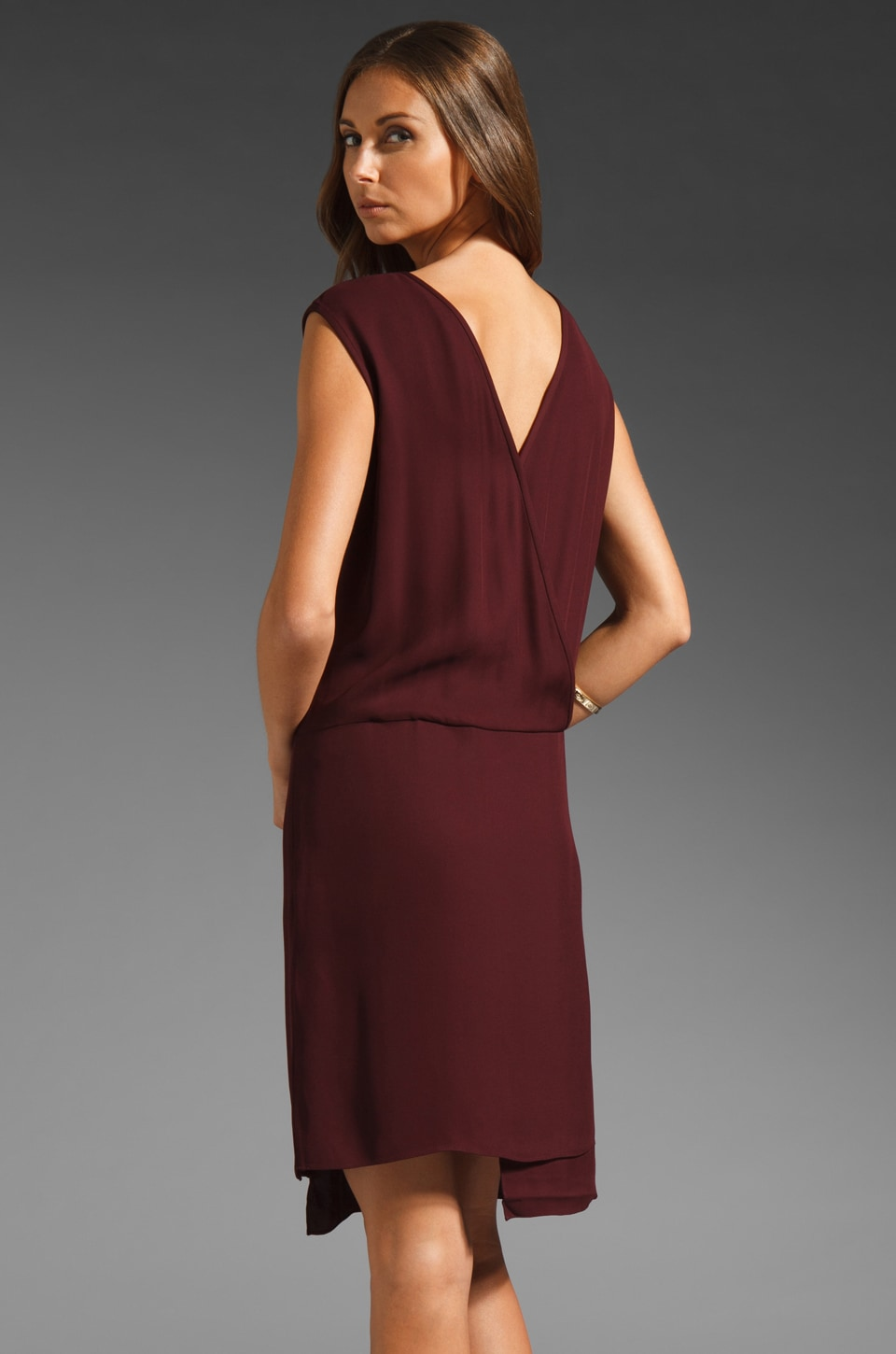 Tibi Drapy Crepe Wrap Dress in Burgundy