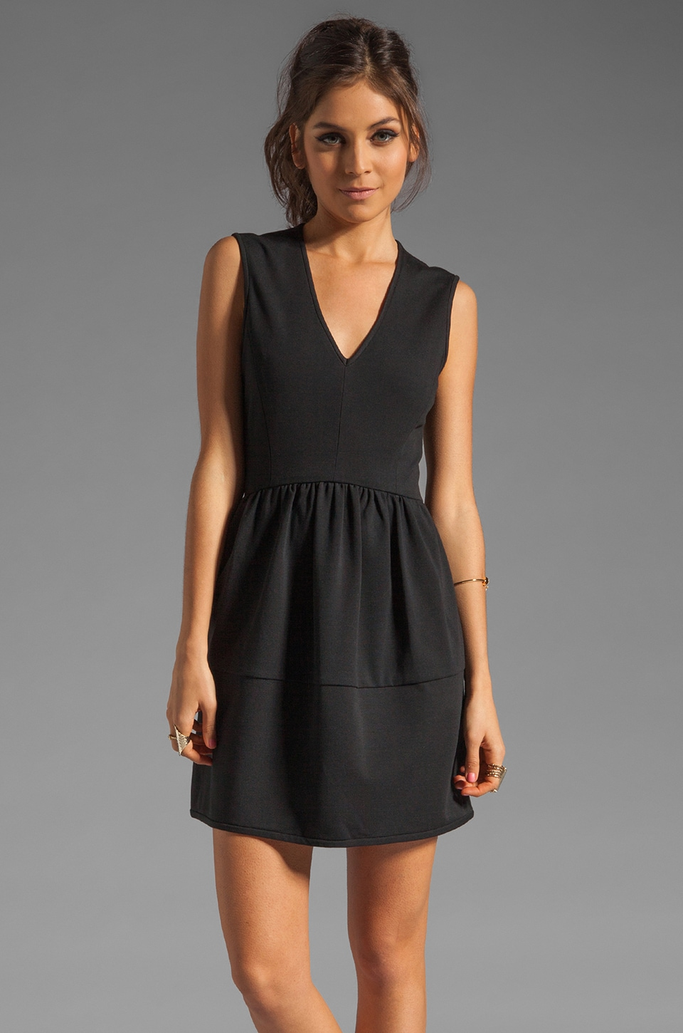 Tibi Ponte V-Neck Dress in Black