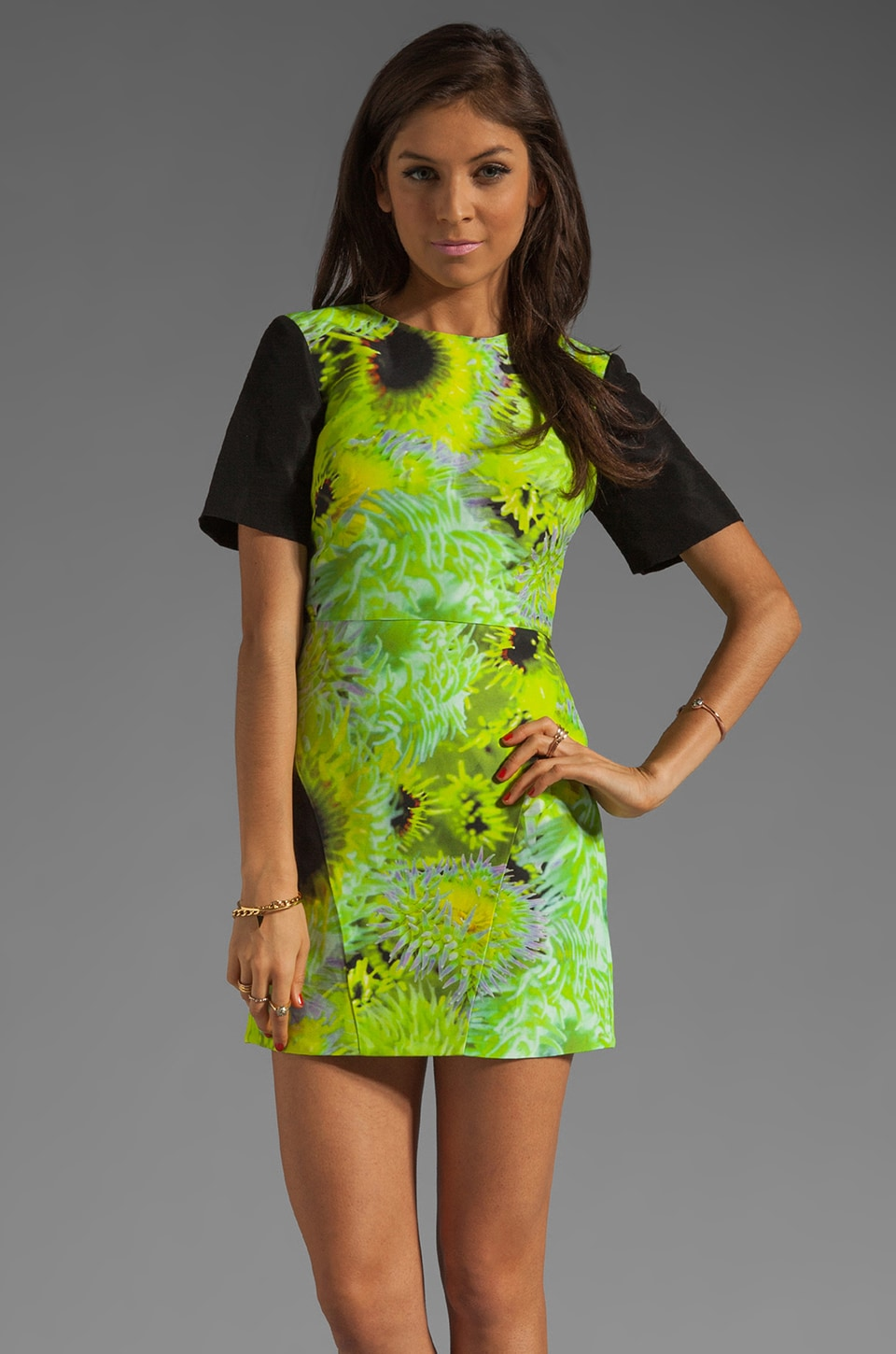 Tibi Athena Dress Multi in Neon Green