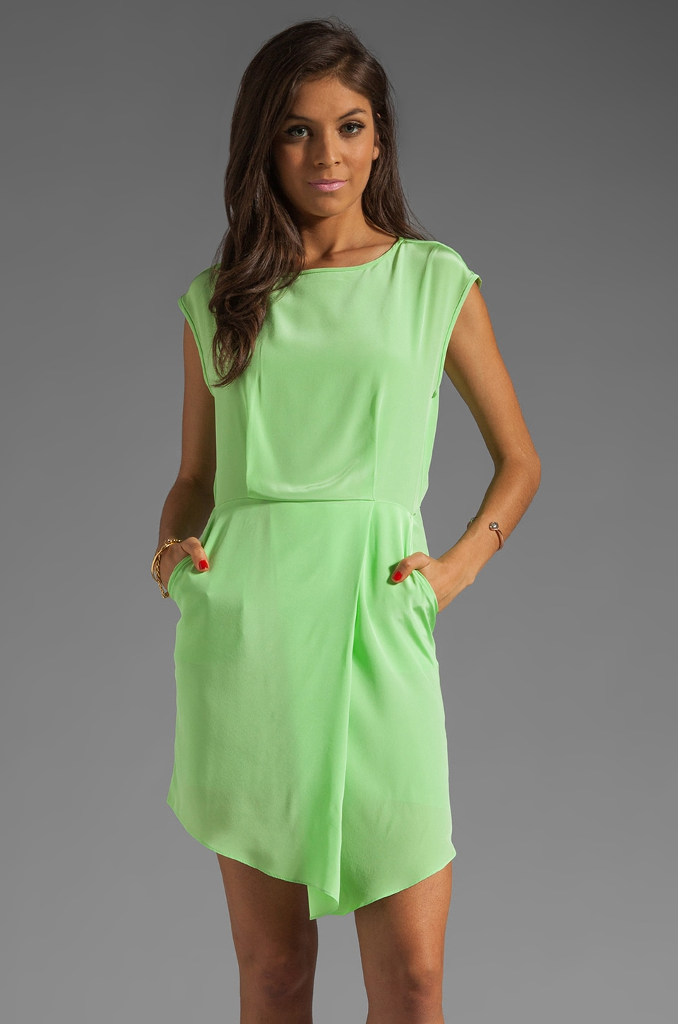 Tibi Solid Silk Drape Dress in Neon Green