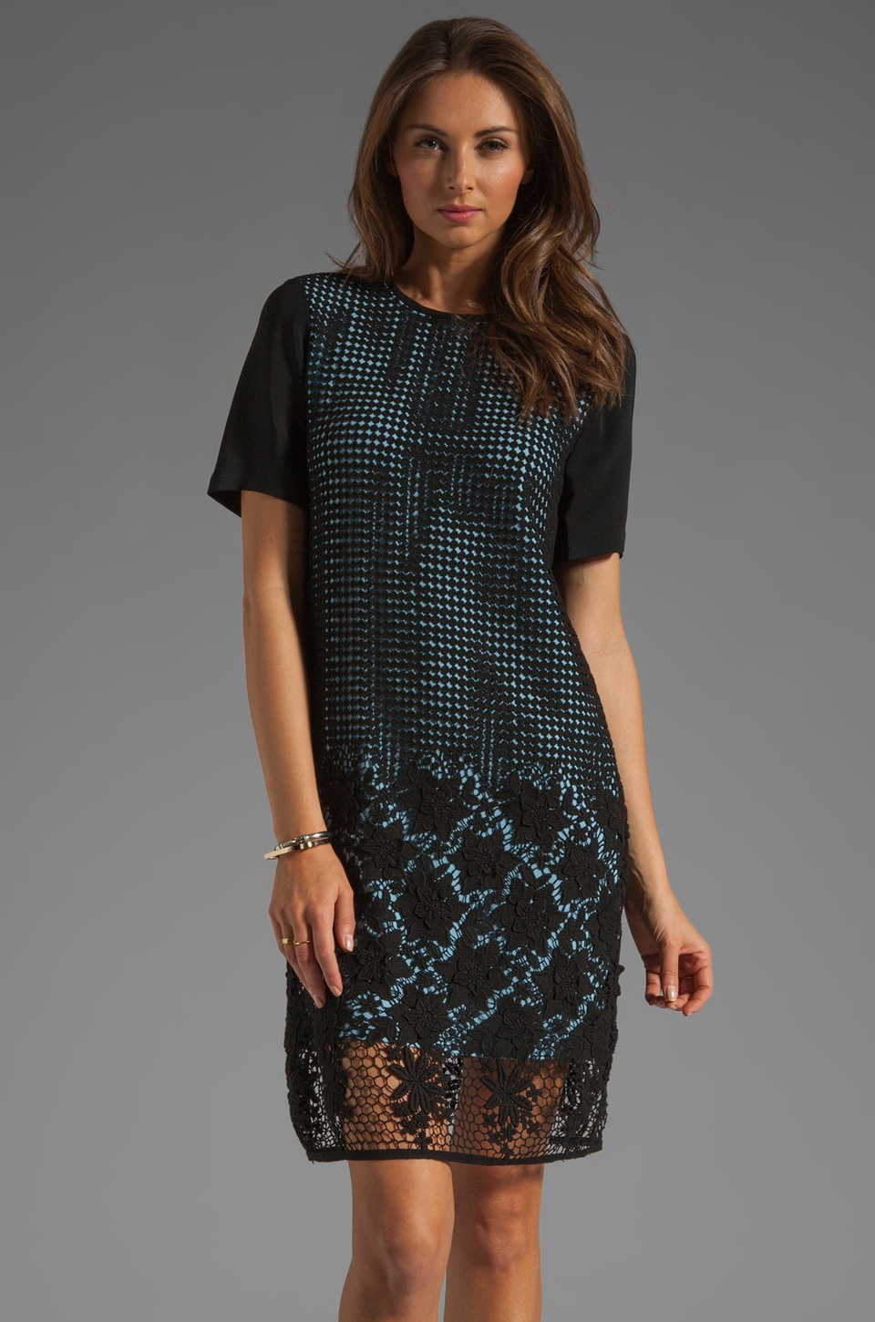 Tibi Basia Lace Dress in Black/Baby Blue Multi