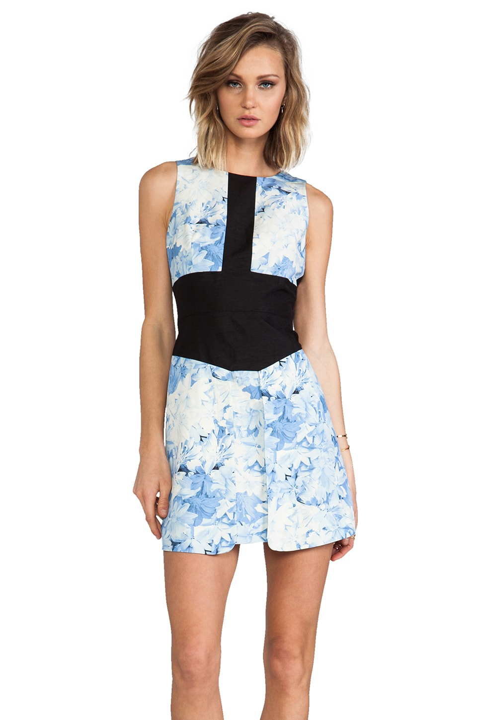 Tibi Daisies Sleeveless Dress in Baby Blue Multi