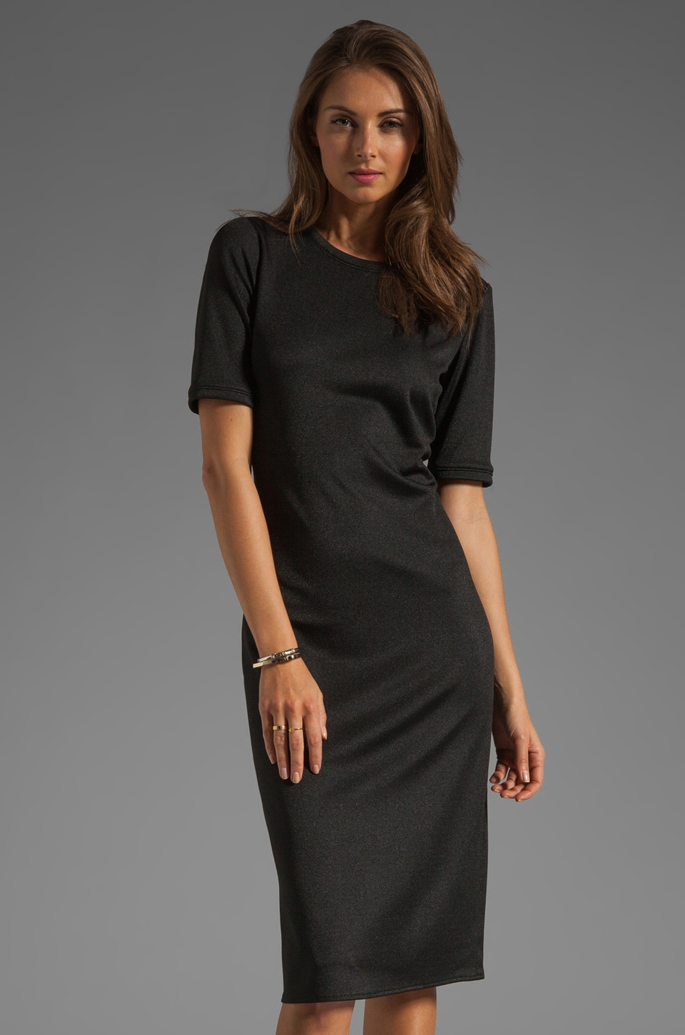Tibi Short Sleeve Mid Length Dress in Black
