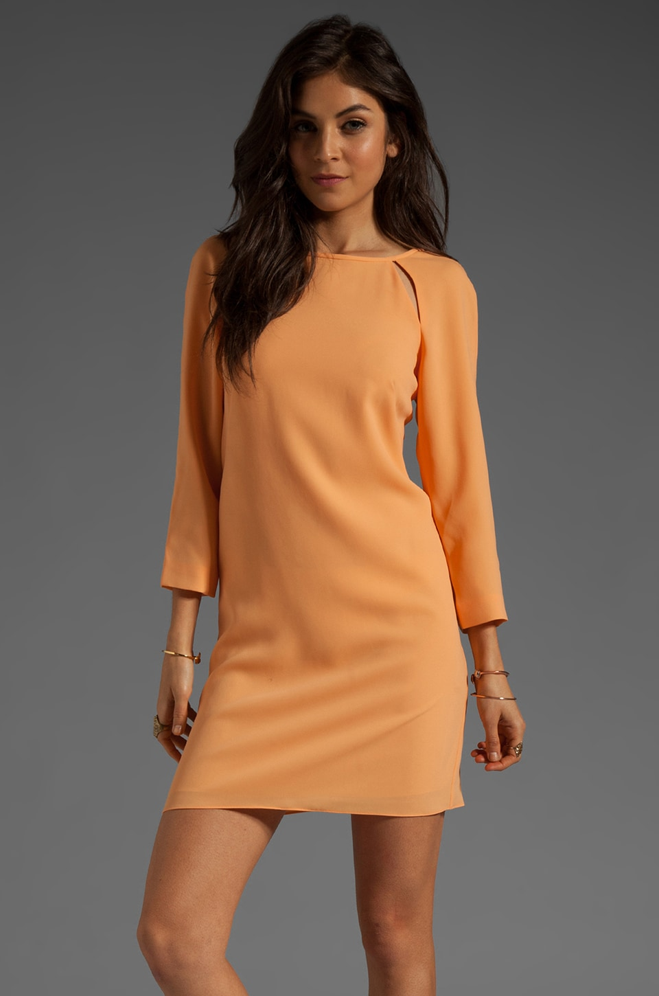 Tibi Peekaboo Shift Dress in Peach