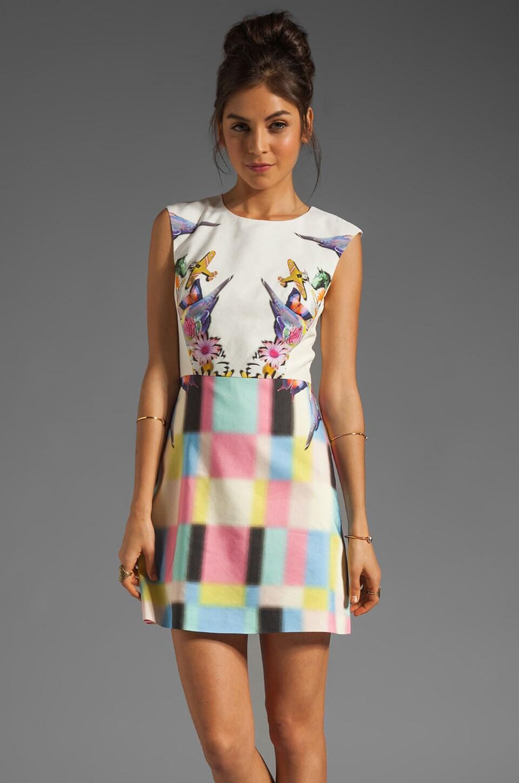 Tibi Eyespy Sleeveless Dress in Ivory Multi