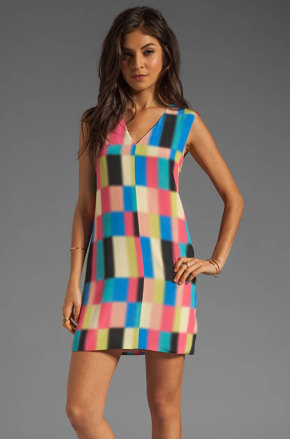 Tibi Vertex Shift Dress in Rose Multi