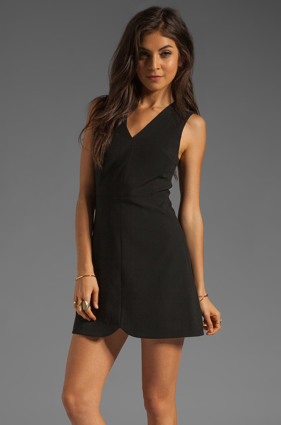 Tibi Anson Stretch Dress in Black