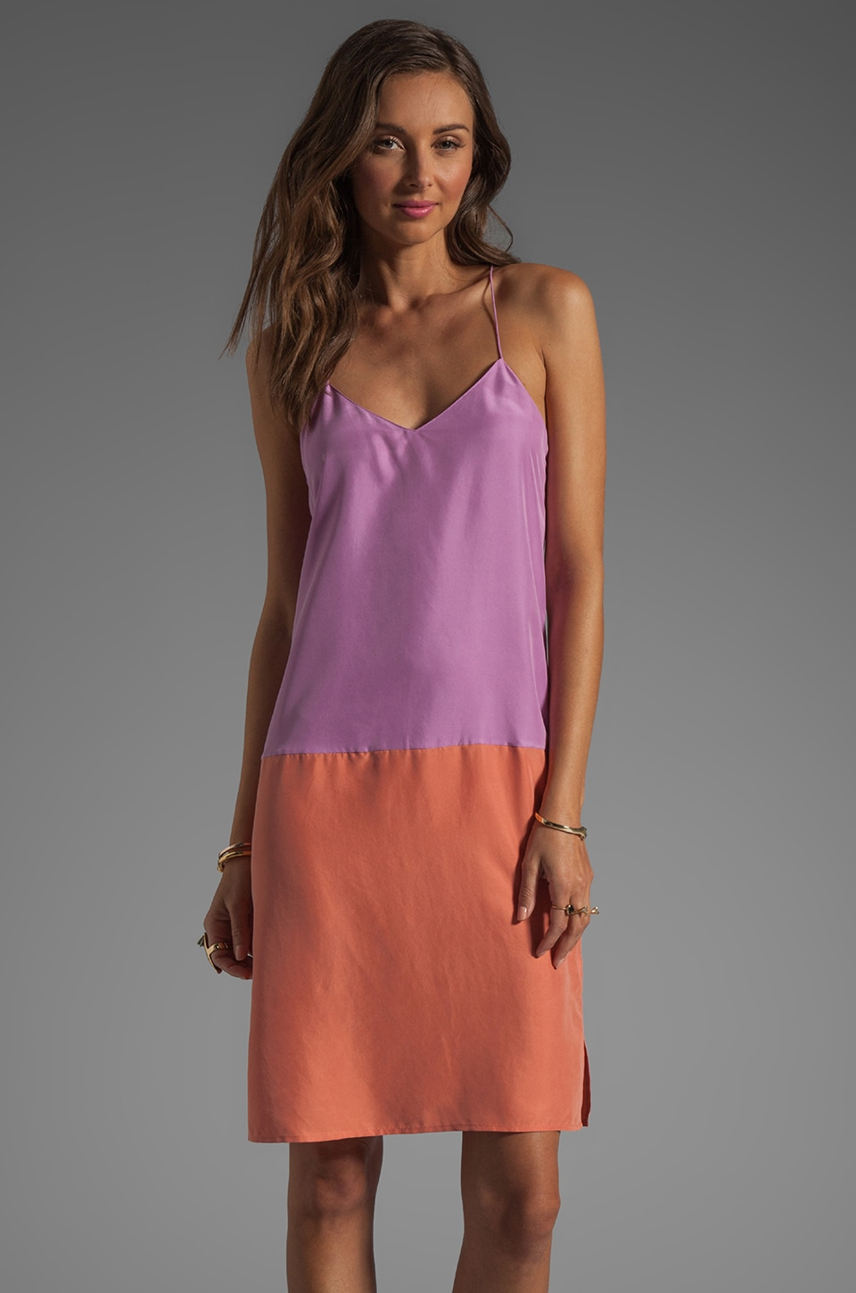 Tibi Colorblock V Neck Cami Dress in Purple/Rouge