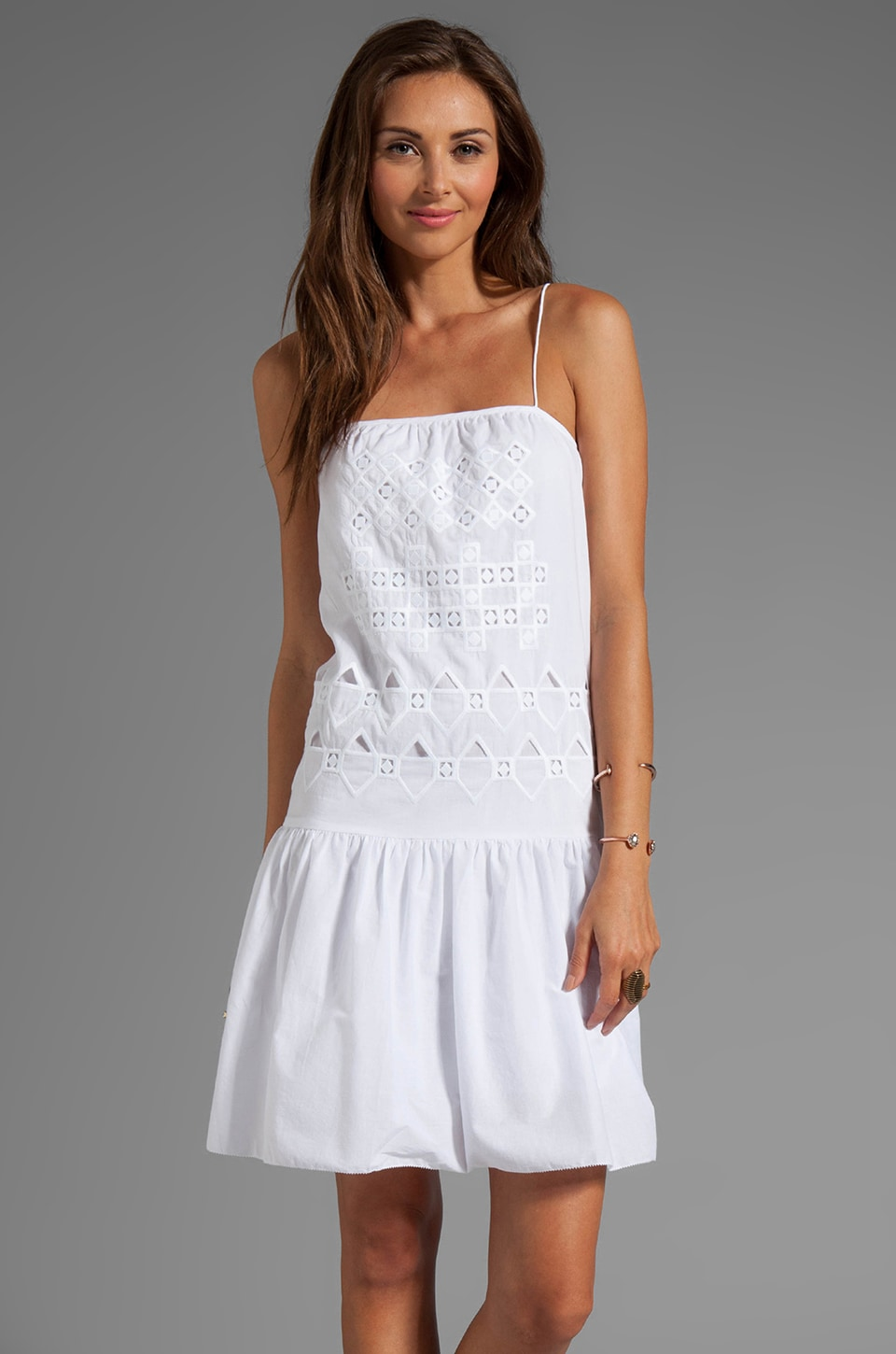 Tibi Eyelet Embroidery Strappy Dress in White