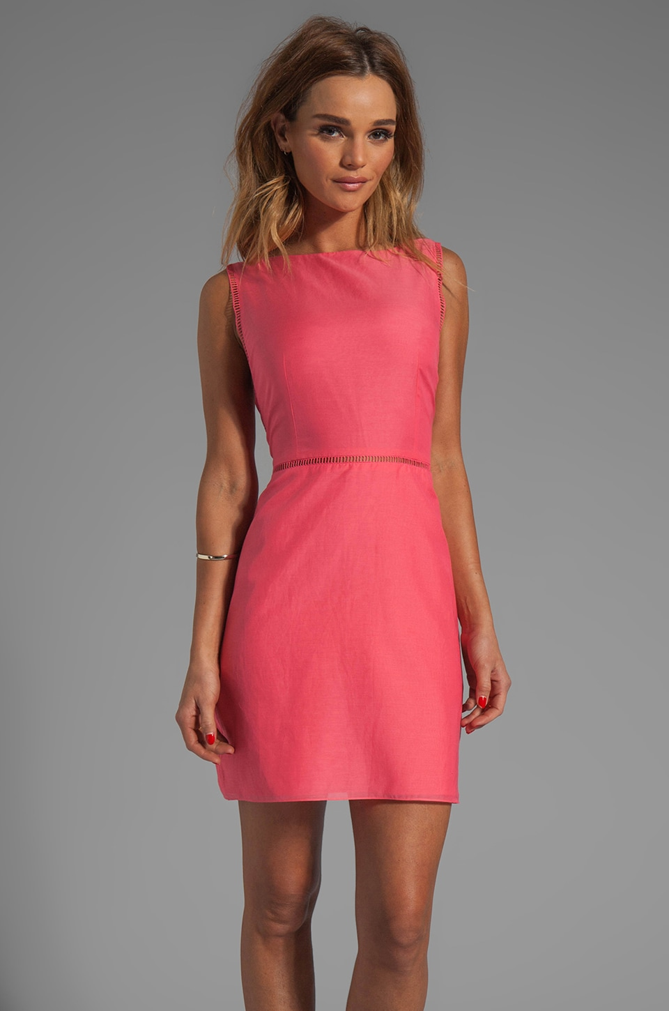 Tibi Silk Sleeveless Dress in Calypso Red