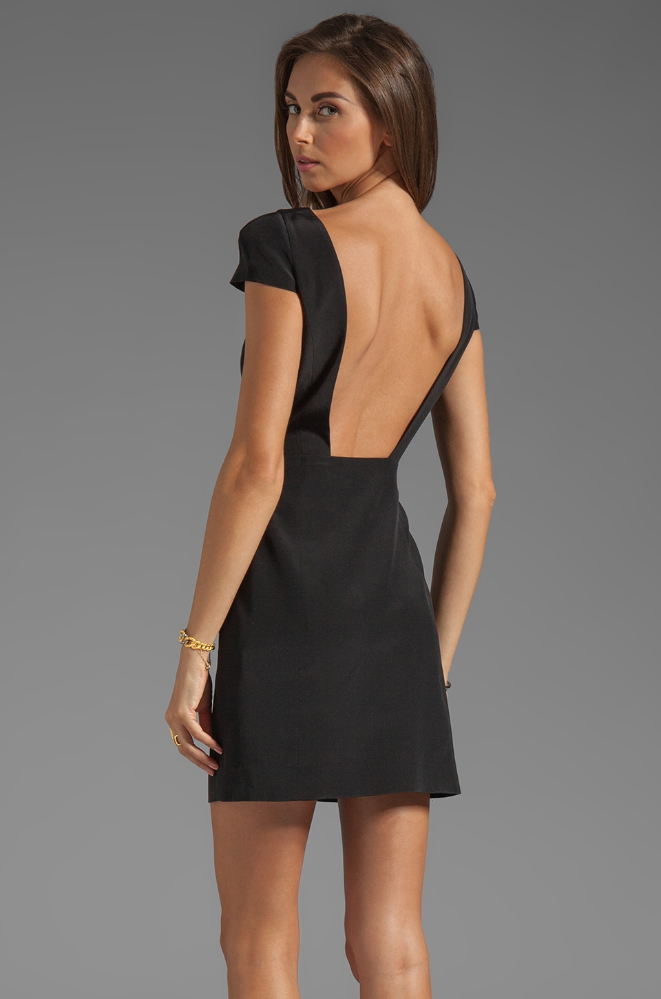 Tibi Silk Cap Sleeve Dress in Black