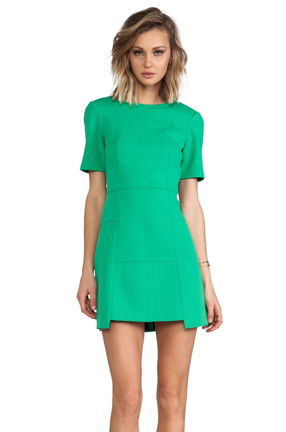 Tibi Bonded Techno Knit Dress in Green