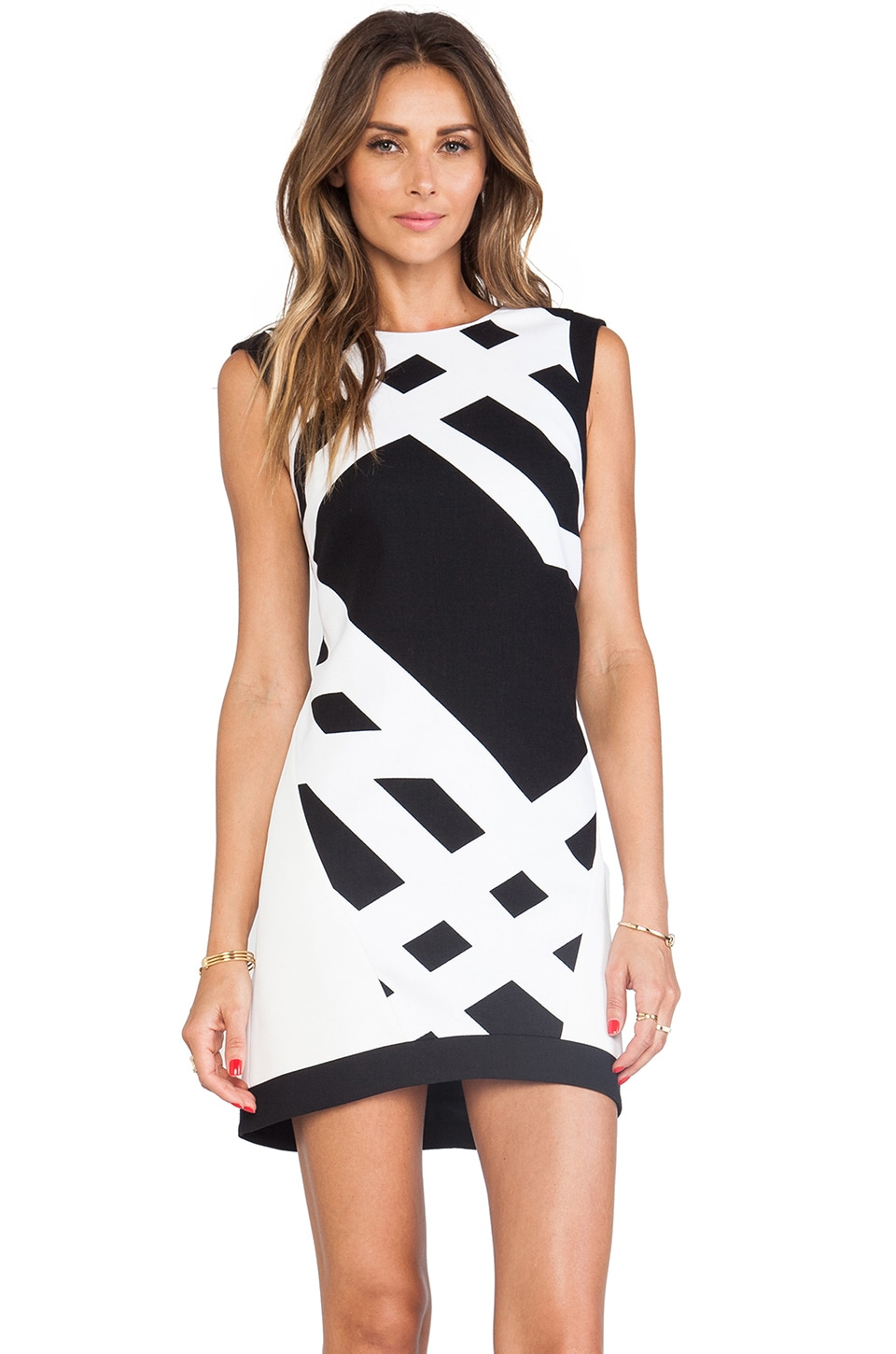 Tibi Cotton and Neoprene Sleeveless Dress in Black/White Multi