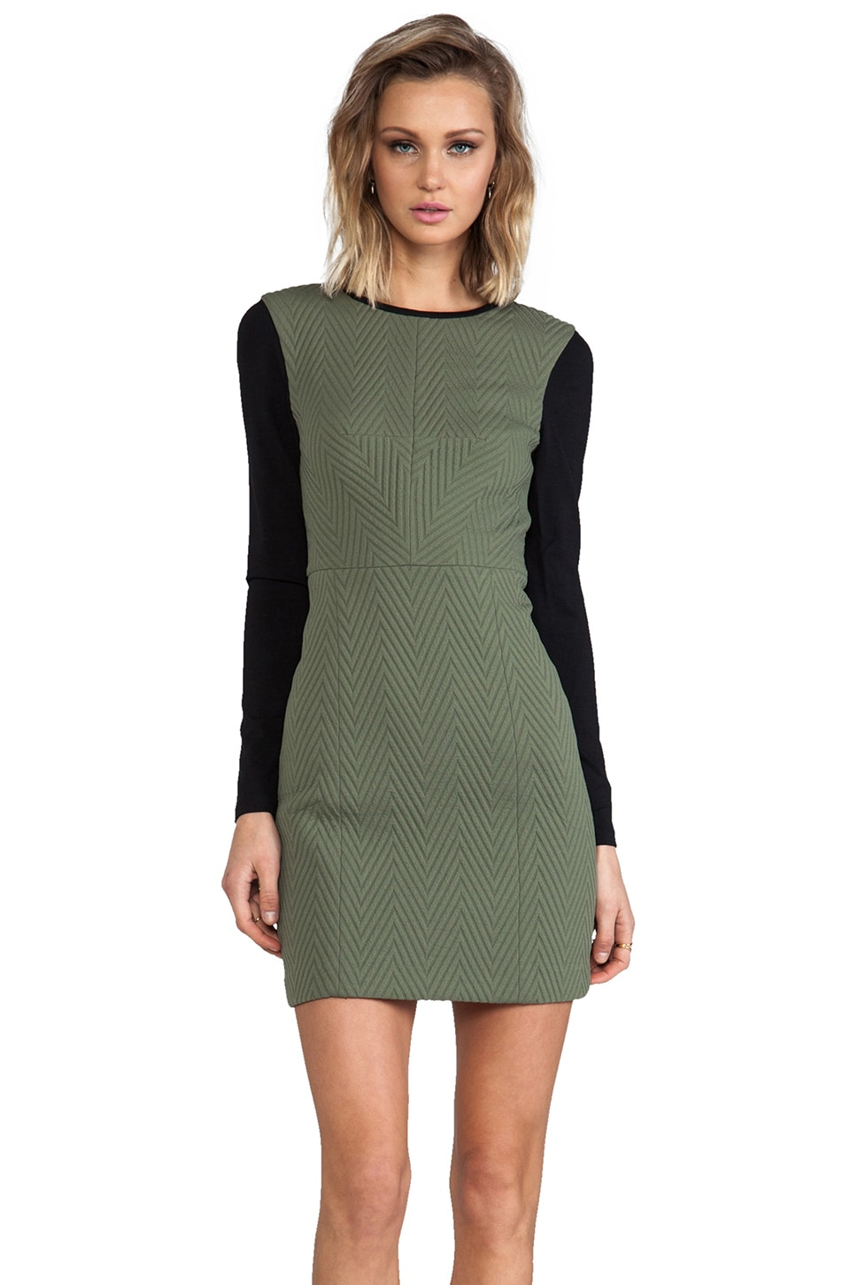 Tibi Quilted Zig Zag Fitted Dress in Olive/Black Multi