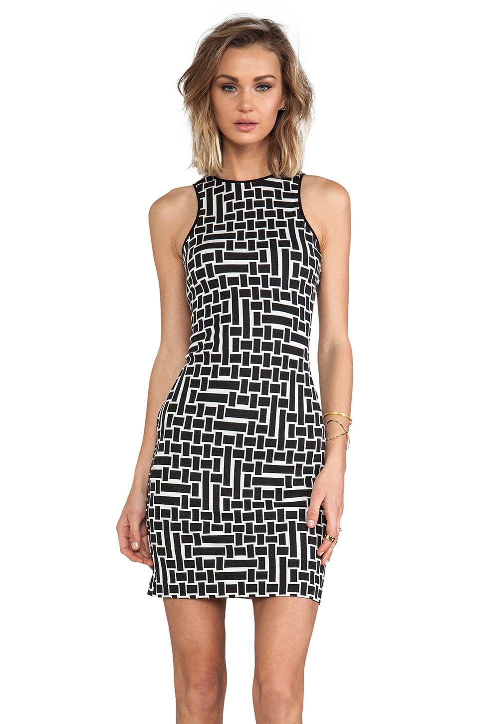 Tibi Patchwork Square Knit Dress in Black/White