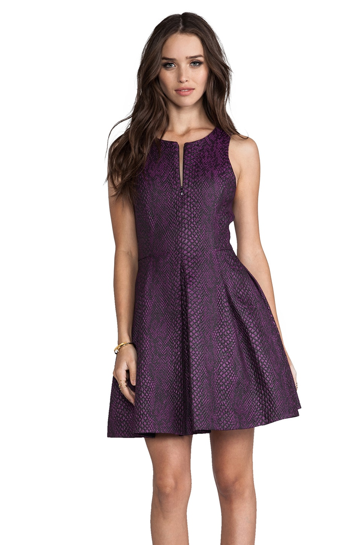 Tibi Cobra Jacquard Sleeveless Dress in Purple