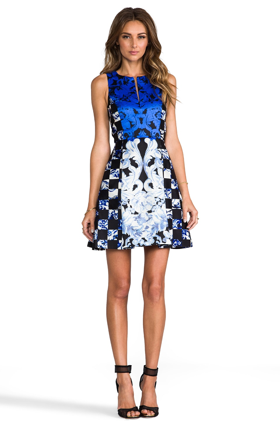 Tibi Rococo Check Dress in Electric Blue Multi