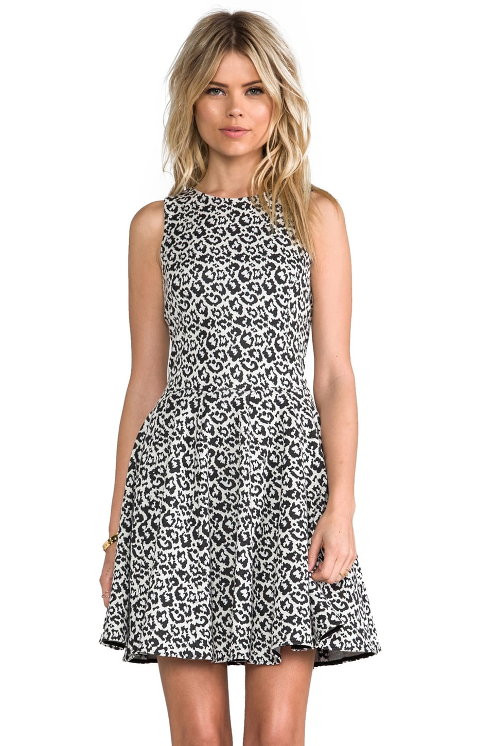 Tibi Leopard Knit Dress in Black & White Multi