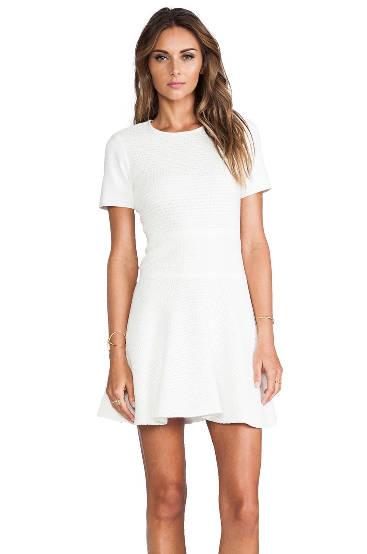 Tibi Vika Crochet Short Sleeve Flirty Dress in Ivory