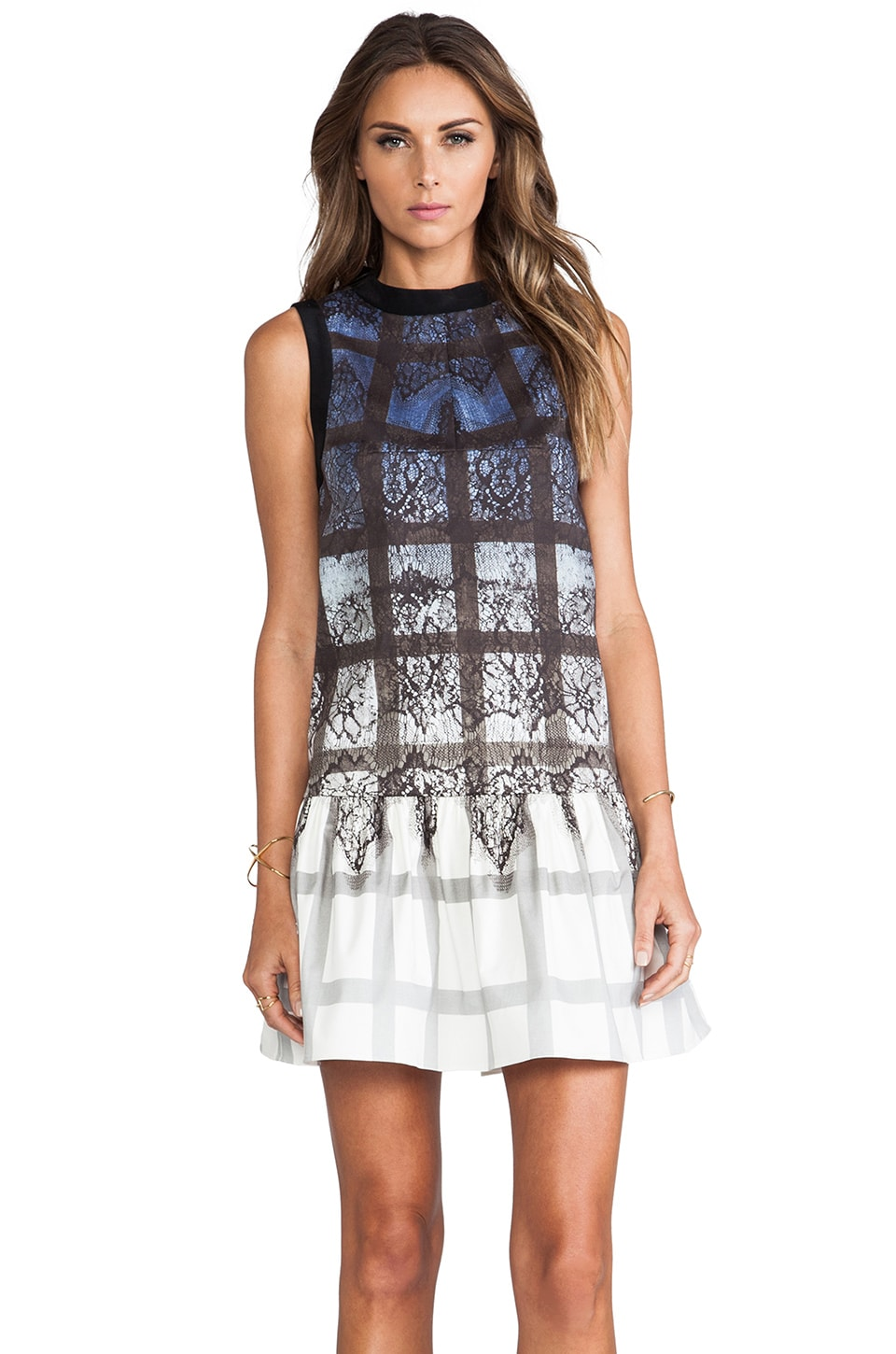 Tibi Lace Plaid Dress in Denim Multi