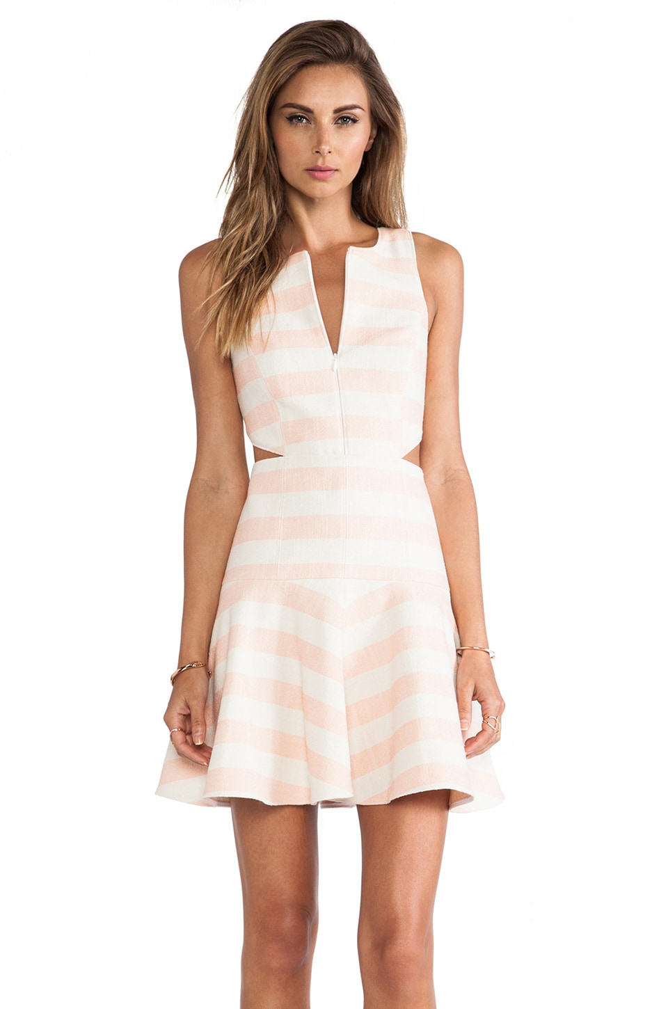 Tibi Blanket Stripe Dress in Pale Blush