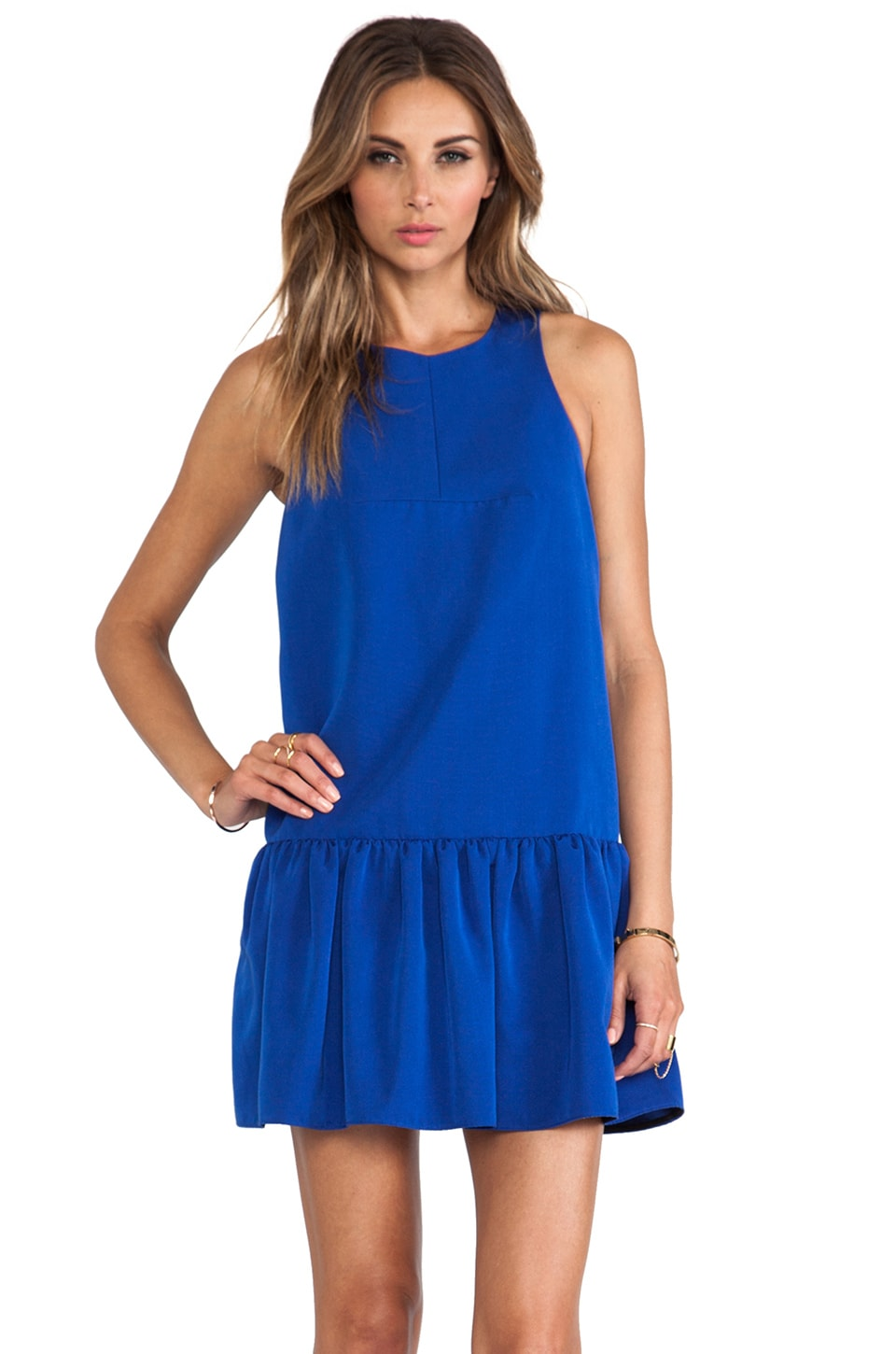 Tibi Katia Faille Dress in Electric Blue