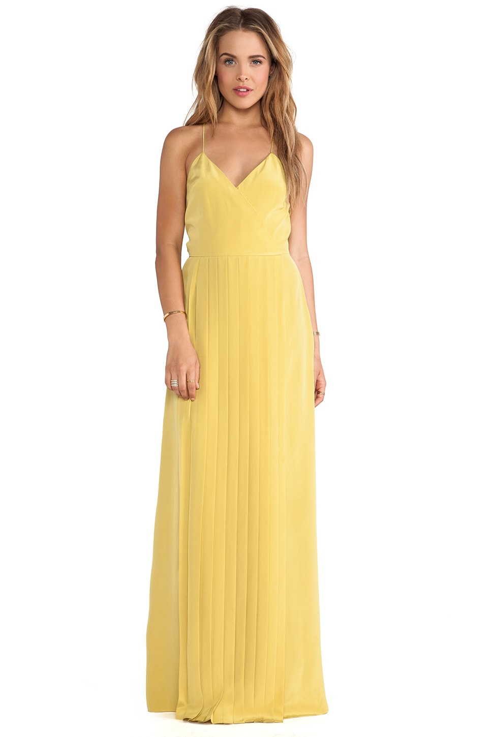 Tibi SIlk Pleated Dress in Yellow Ochre