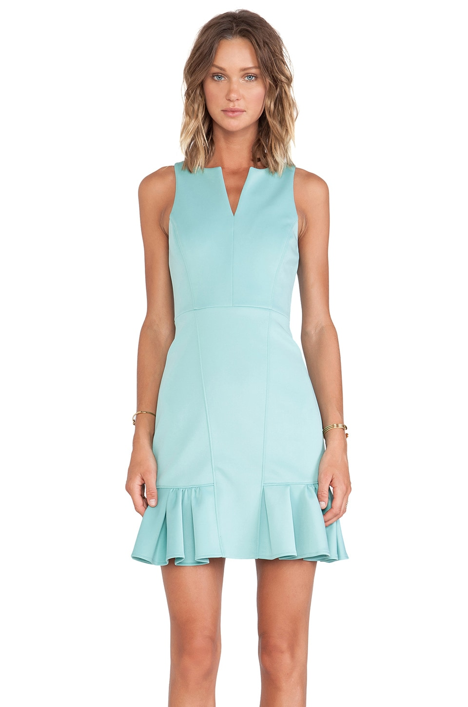 Tibi Rime Split Neck Sleeveless Dress in Lichen