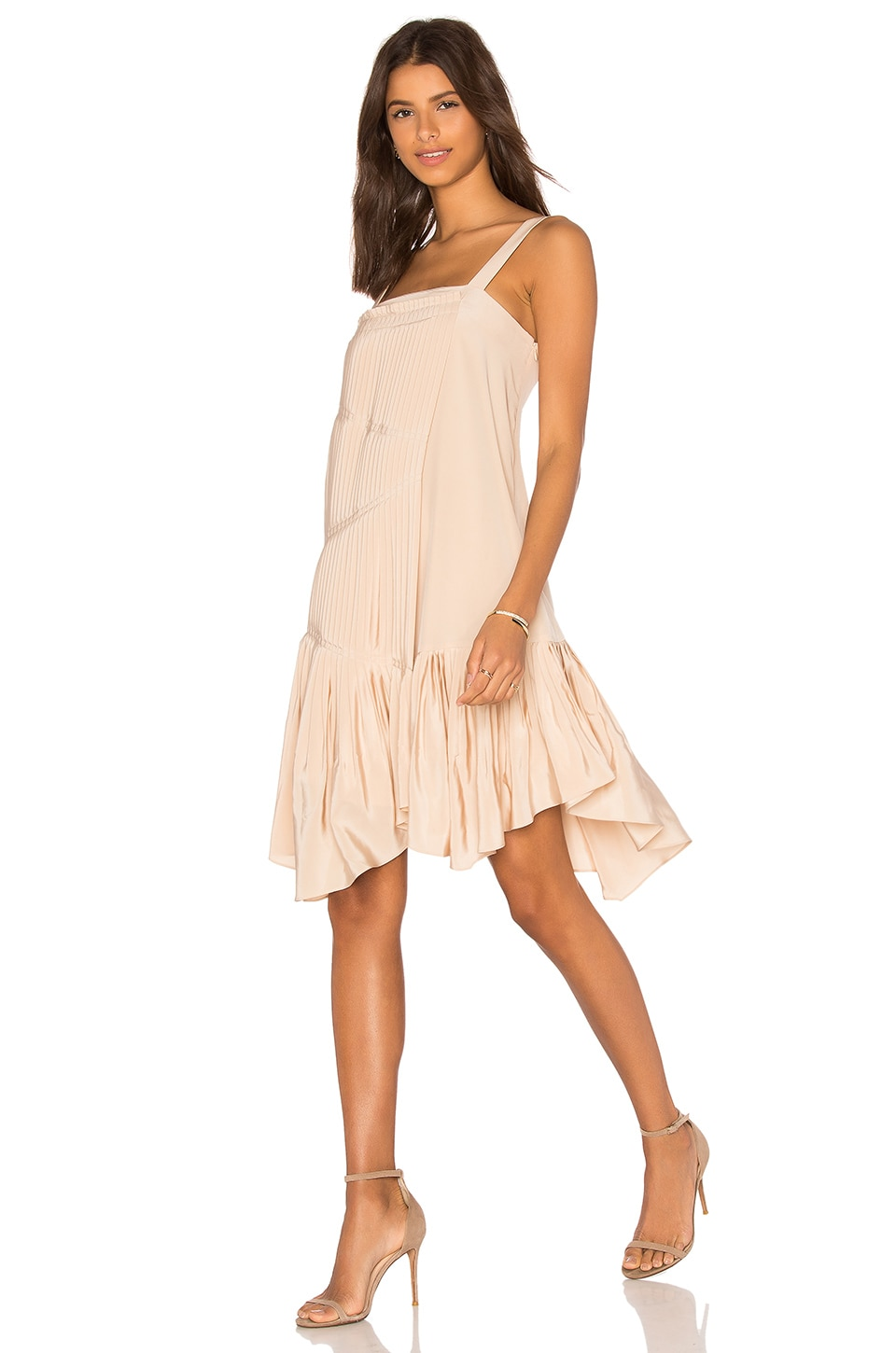 Tibi Pleated Strappy Dress in Morro Sand