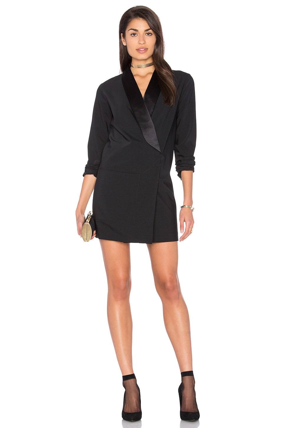 Tuxedo Dress With Satin Lapel by Tibi