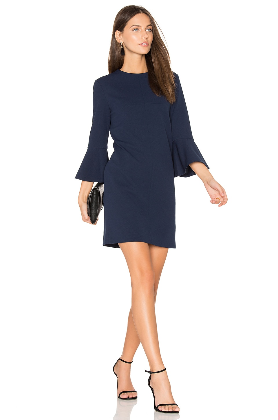 Tibi Bell Sleeve Dress in Midnight Navy