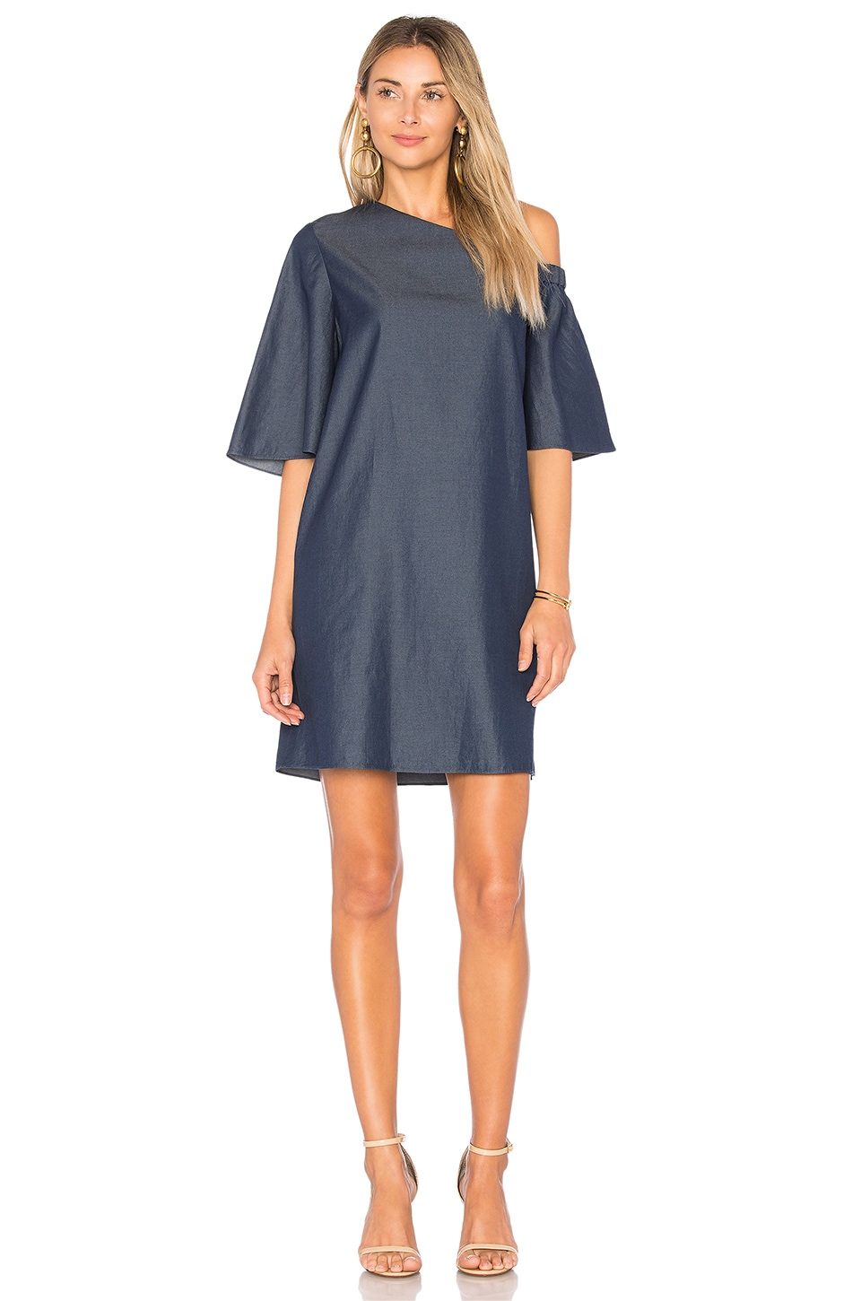 One Shoulder Bell Sleeve Dress by Tibi