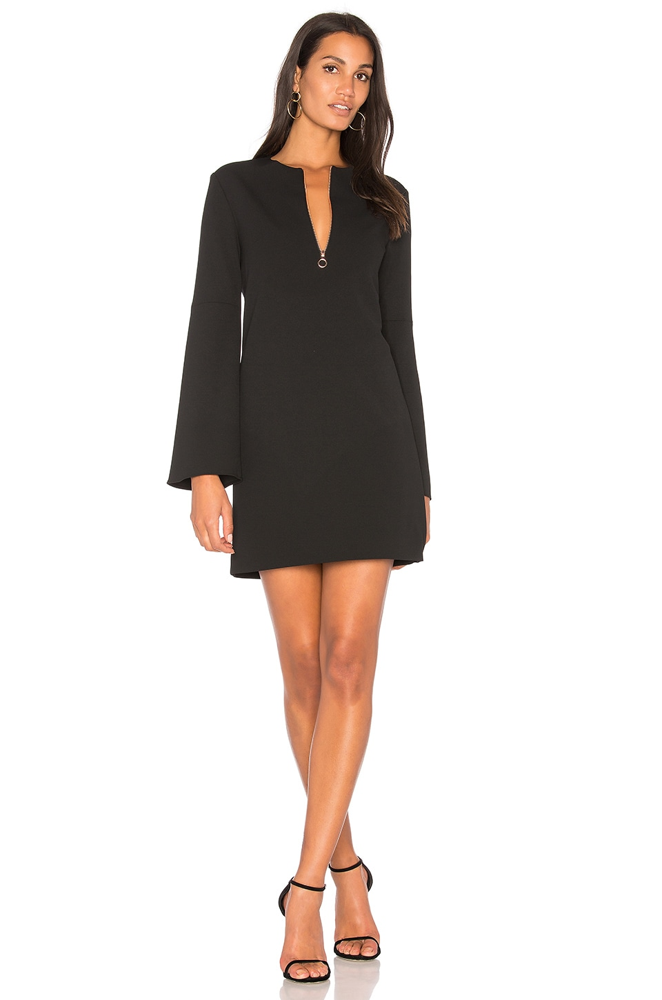 Tibi Zip Front Dress In Black
