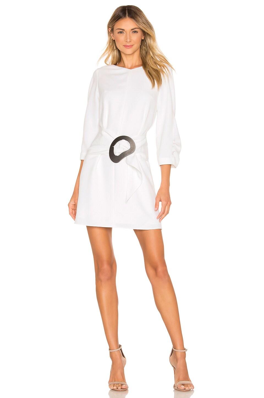 Tibi Dresses TIBI REMOVABLE BELT SHIRRED SLEEVE DRESS IN WHITE.