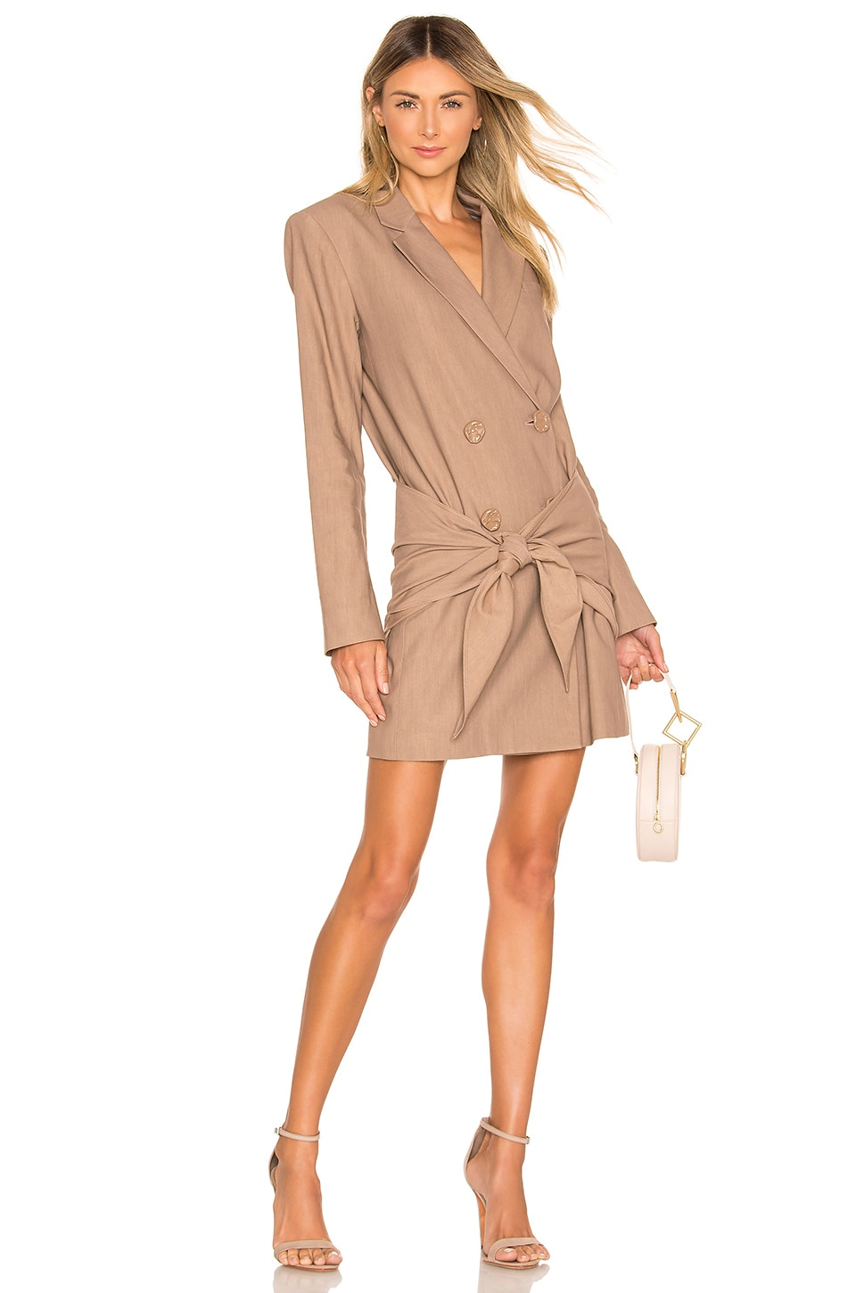 Tibi Blazers TIBI BLAZER DRESS IN TAN.