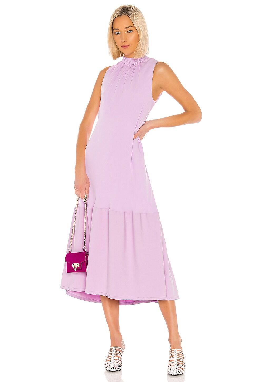 Tibi Modern Drape Sculpted Drape Midi Dress in Mulberry