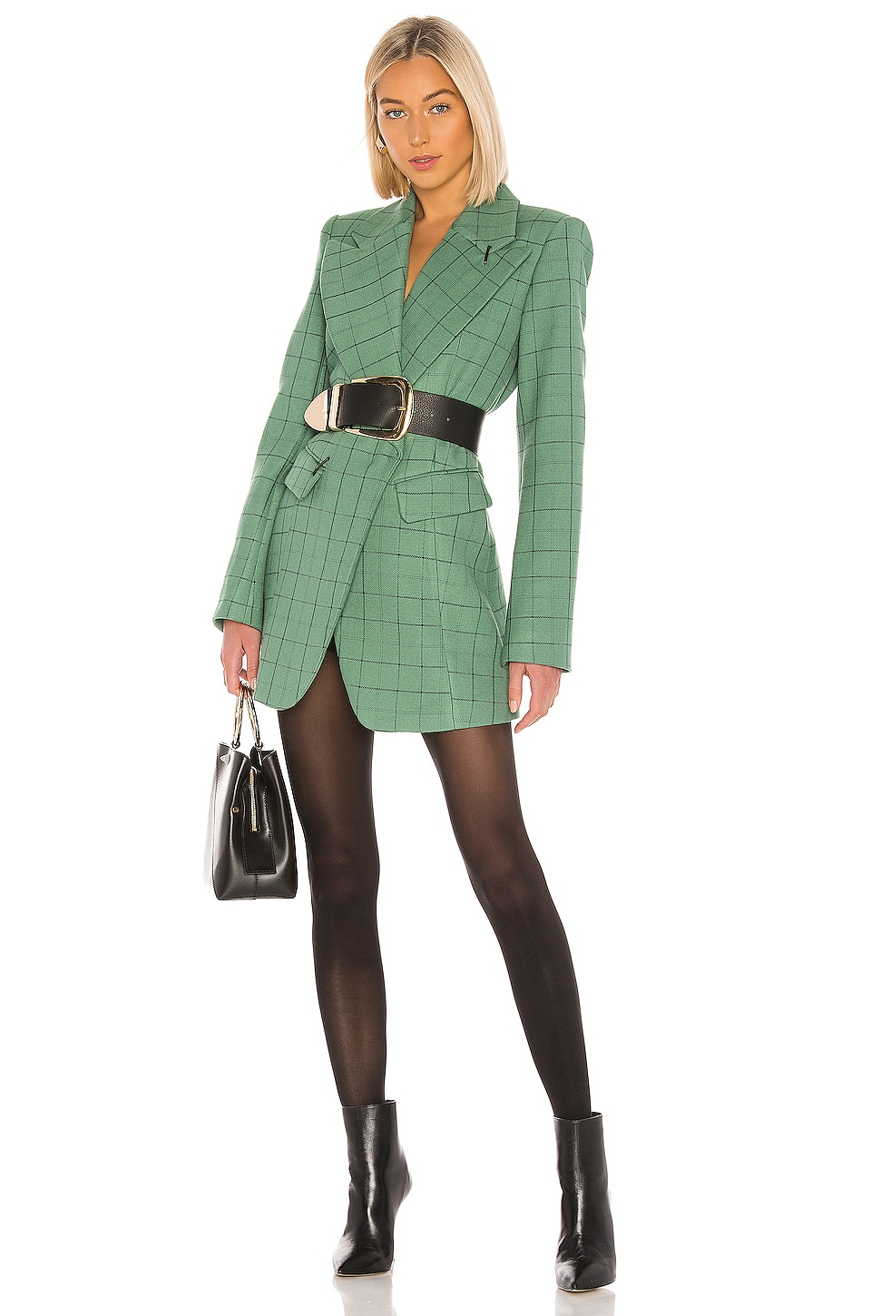 Tibi Windowpane Peaked Lapel Blazer Dress in Celadon Multi
